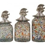 Fiesta Glass Cannister Set with Aluminum Fish Tops