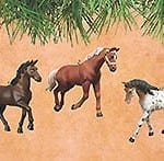 Set of Three Different Horse Breed Ornaments