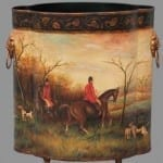 Hand Painted Metal Tole Fox Hunt Themed Wastcan