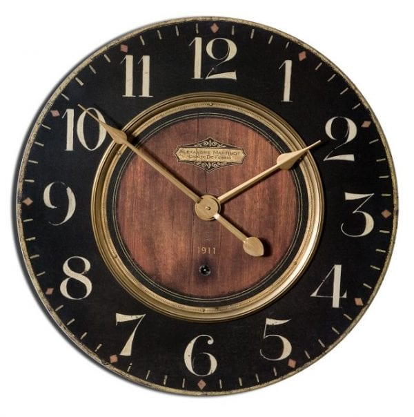 Weathered Wood and Black Wall Clock