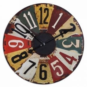 Vintage License Plate Wall Clock