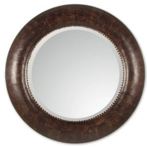 Large Round Leather Wrapped Mirror
