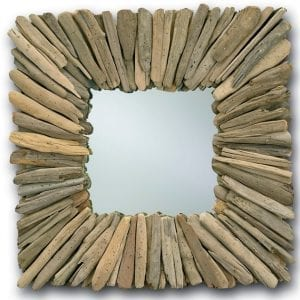Rustic Square Driftwood Mirror