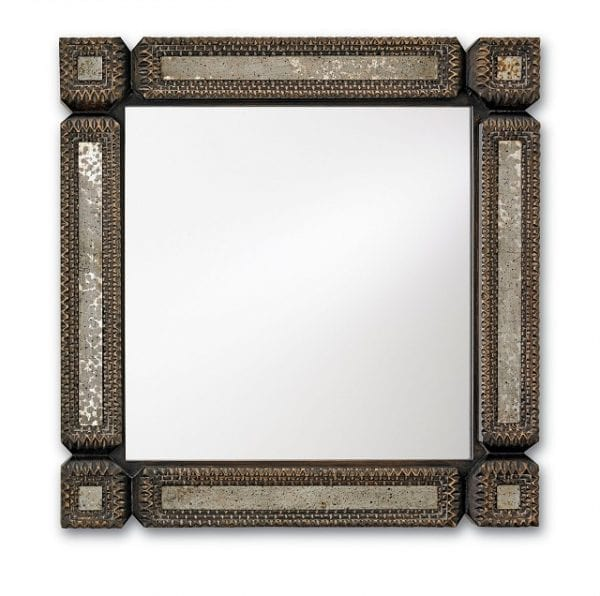 Elegant Square Tramp Art Mirror
