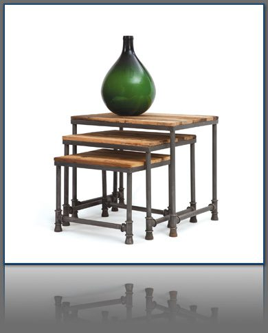 Pipe and Reclaimed Wood Nesting Table Set