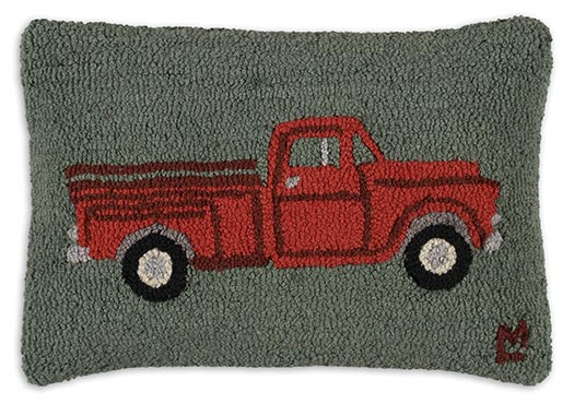 My Red Truck Hand Hooked Pillow