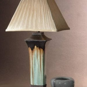 Chocolate & Blue-Green Porcelain Table Lamp