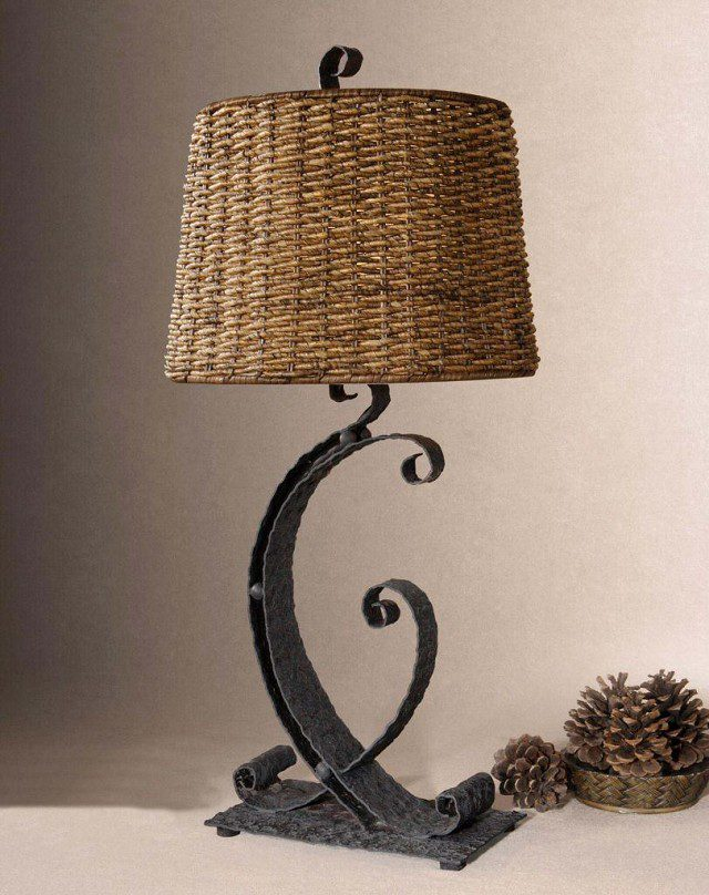 Hammered Metal Strap Table Lamp