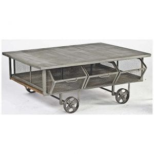 Industrial Metal Rolling Coffee Table