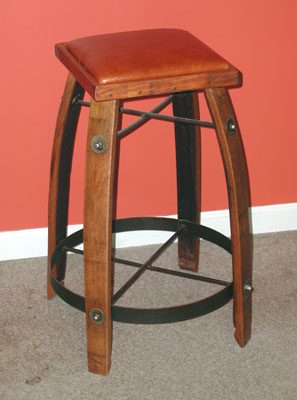 Wooden Wine Barrel Stool - Bar Height with Leather Seat