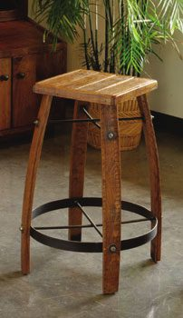 Wooden Barrel Stave Bar Stool with Wood Seat