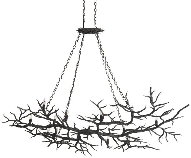Hand Forged, Horizontal Branch Chandelier