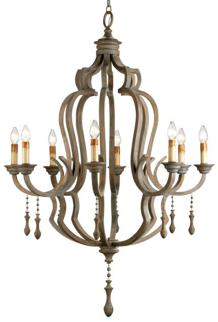 Elegant Rustic Wood and Iron Chandelier