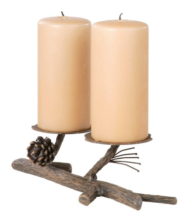 Double Candle, Hand Forged Pine Branch Candleholder