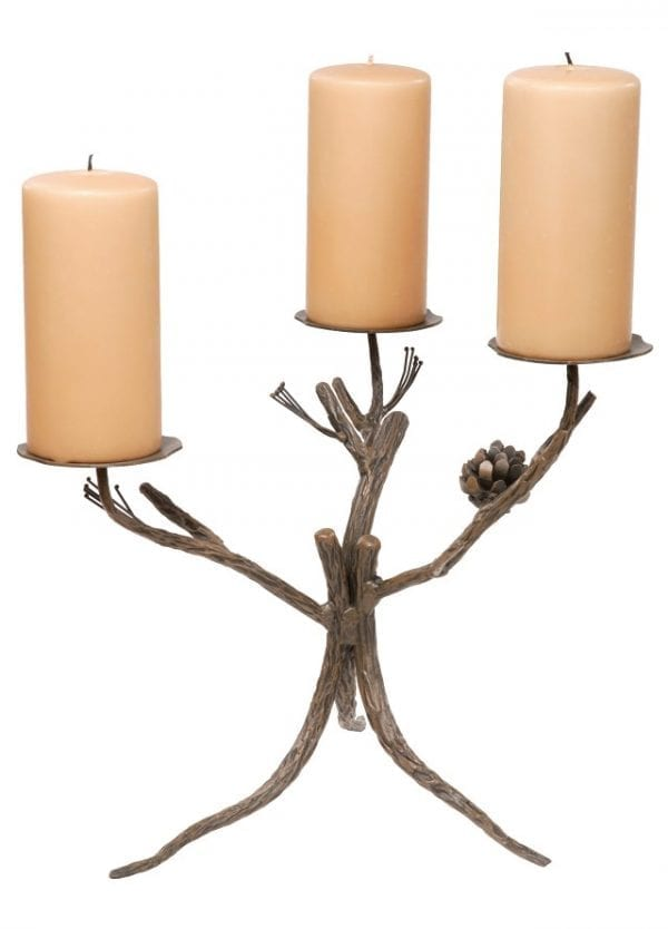 Hand Forged, Triple Candle Pine Branch Candle Holder