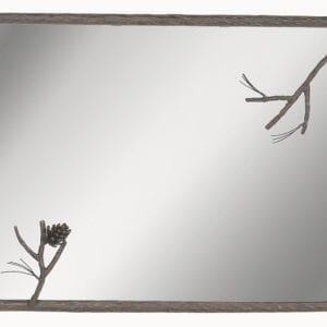 Rustic, Hand Forged Pine Branch Mirror