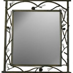 Hand Forged, Rustic Pine Branch Mirror - Small