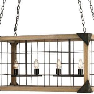 Modern Rustic Wire Cage Rectangular Pendant