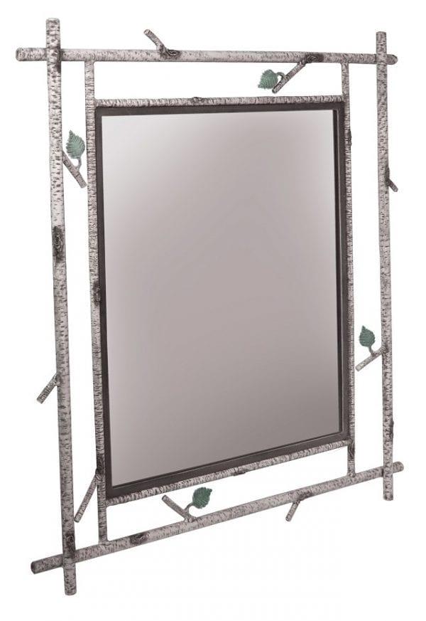 Handmade Birch Textured Iron Mirror
