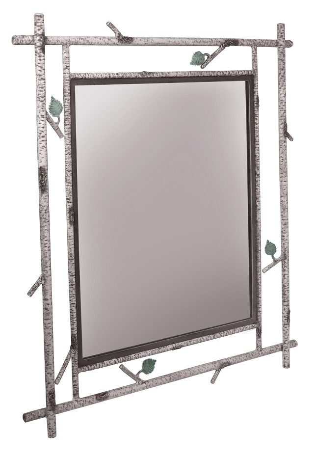 Handmade Birch Textured Iron Mirror