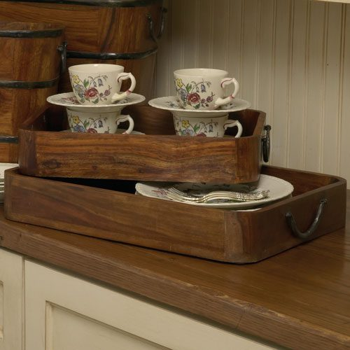 Cherry Wood and Iron Serving Trays - Set of Two