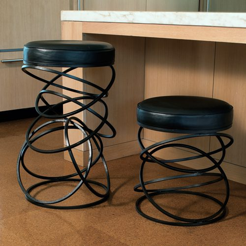 Counter Height Metal Ring and Leather Stool