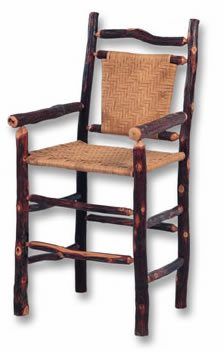 Hickory Bar Stool With Arms, Cane Back and Seat