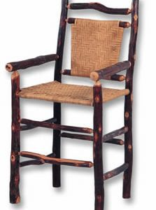 Solid Hickory Bar Stool with Cane Back and Seat with Arms; Bar Height