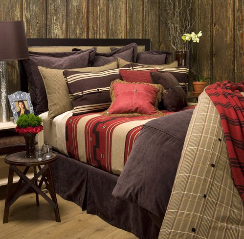 Chocolate, Red and Camel Indian Bedding Collection - Queen Size