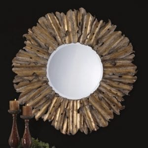 Scraped and Hammered Round Mirror