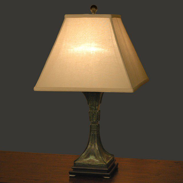 Bronze Patina Tapered Column Table Lamp