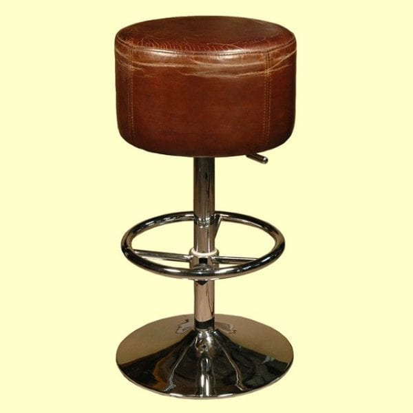 Swivel Retro Barstool in Cigar Leather - Counter or Bar
