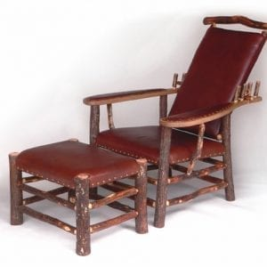 Leather Upholstered Hickory Morris Chair