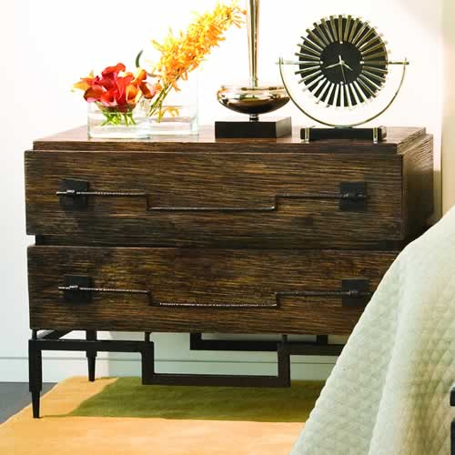 Brushed Mango Wood 2-Drawer Chest