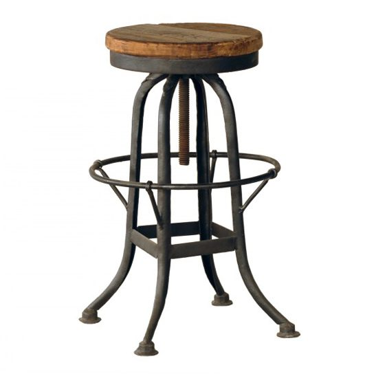 Rustic Iron And Wood Backless Bar Stool