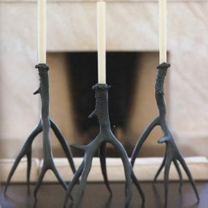 Bronze Antler Candle Sticks - Pair of Large