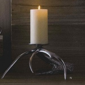 Polished Aluminum Antler Pillar Candle Holder Pair - Large