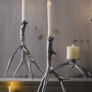 Polished Aluminum Antler Candlestick - Small