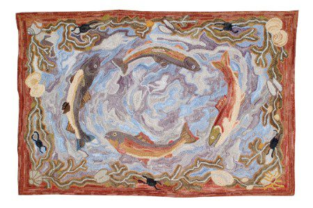 Swirling Fish Hand Hooked Rug