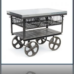 Antiqued Metal Factory Station Cart