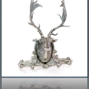 Polished Aluminum Deer Head with Hooks