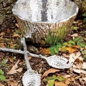 Polished Aluminum Bark Bowl - Large