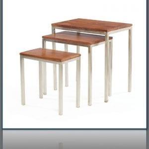 Retro Nickel and Wood Nesting Table Set (Three)