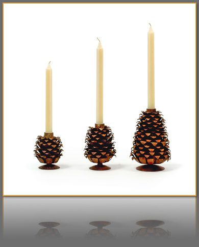 Rusted Iron Pinecone Candle Holder Set