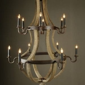 Antique Wine Stave Chandelier - Large