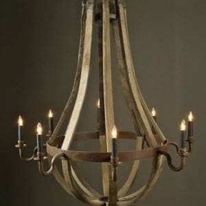 Antique Wine Stave Chandelier - Medium Size