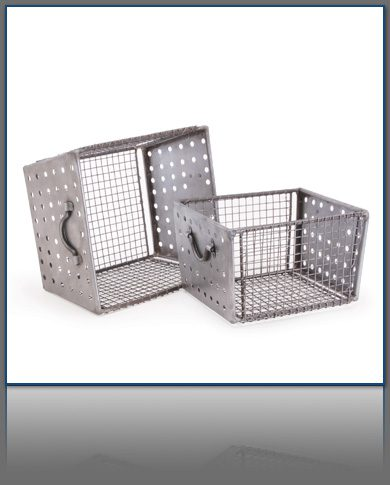 Set of Two Industrial Wire Baskets